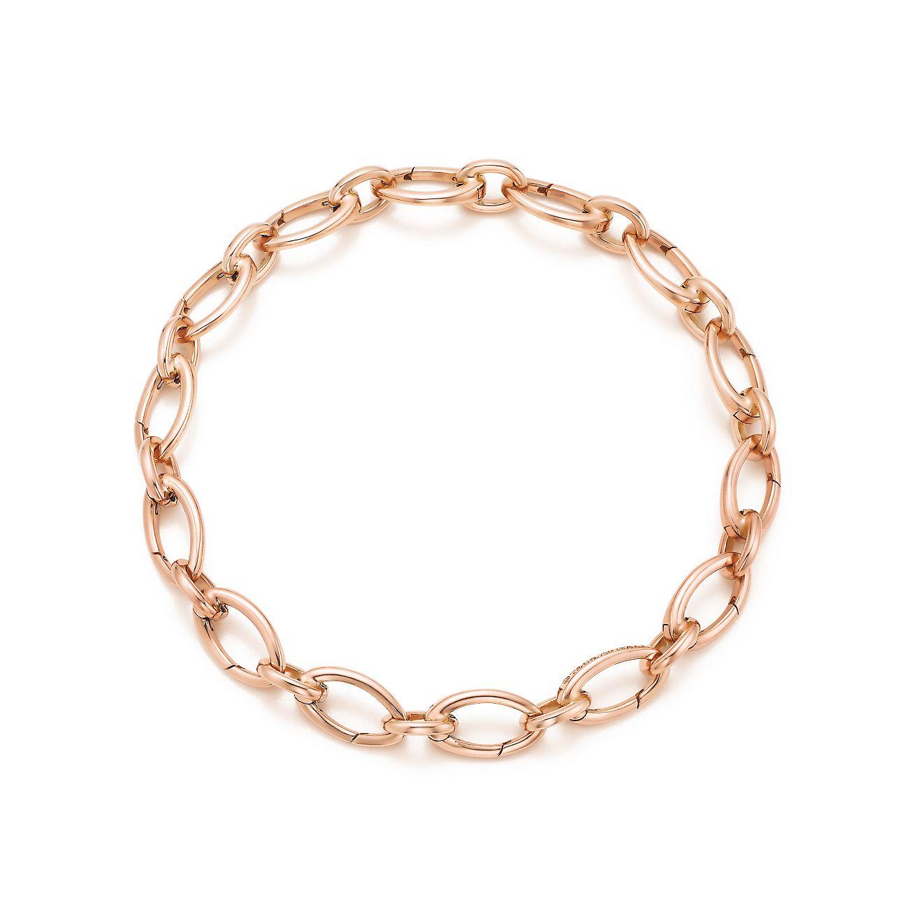 Link Clasp Bracelet In 18k Rose Gold 7quot Long Tiffany Co