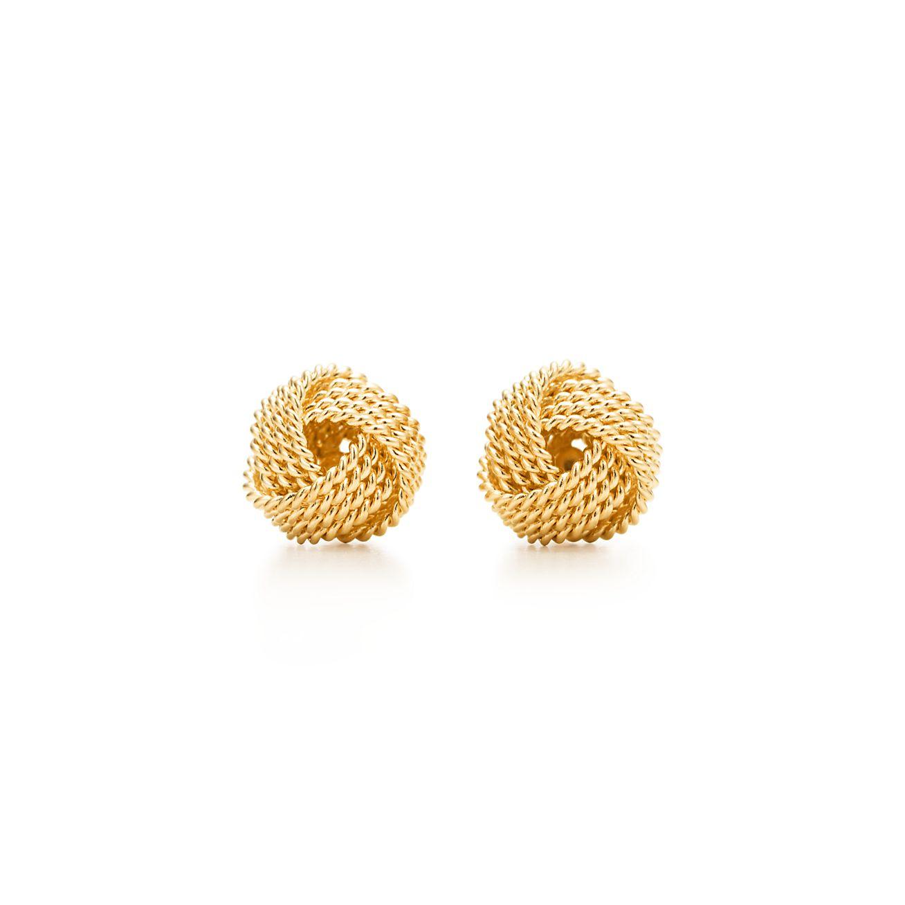 Tiffany Twist knot earrings in 18k gold.
