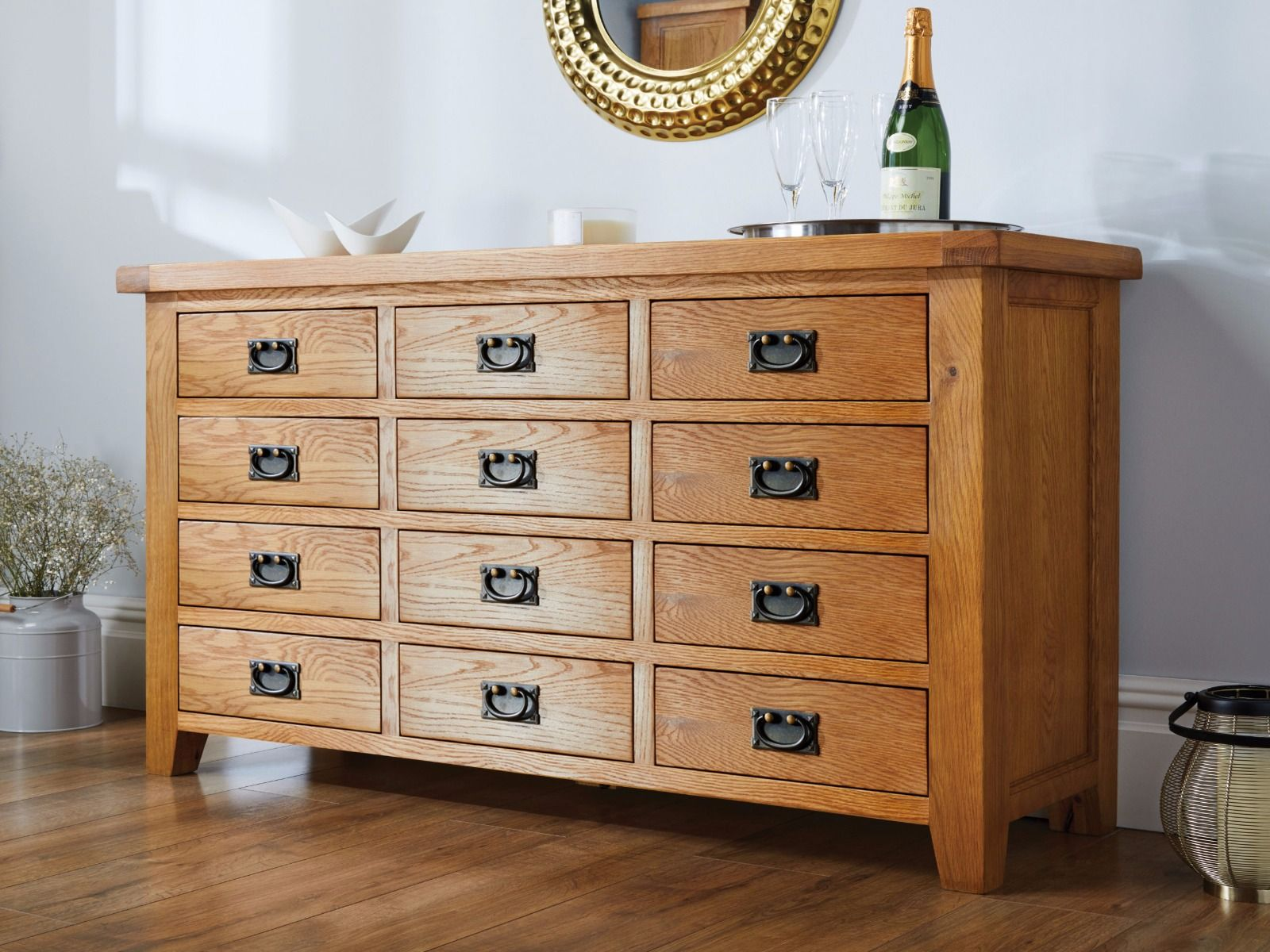 12 Drawer Chest Of Drawers Country Oak Large 12 Drawer Merchant Chest Sideboard Storage Unit