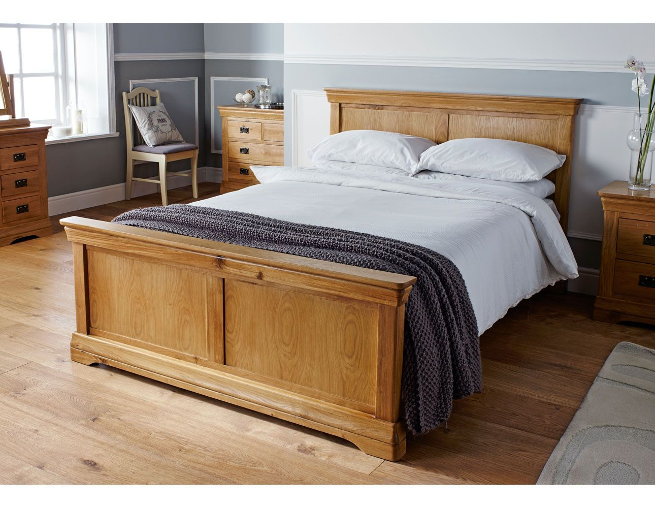 4ft 6 Bed Farmhouse Country Oak Double Bed 4ft 6 Inches