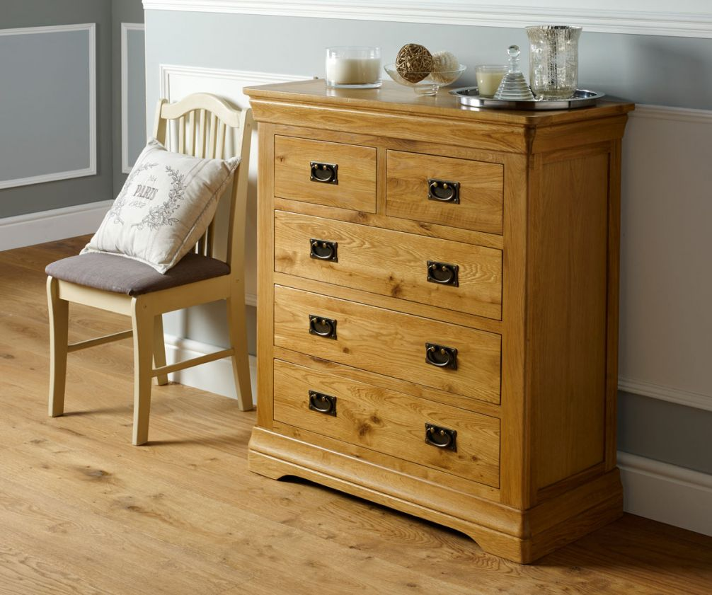 French Farmhouse Country Oak 2 Over 3 Chest Of Drawers Free Delivery Top Furniture