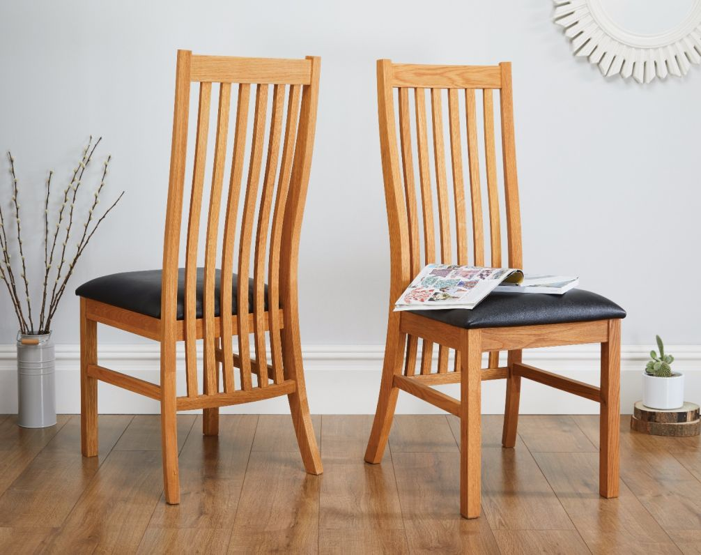 Lichfield Oak Dining Chair Brown Leather Free Delivery
