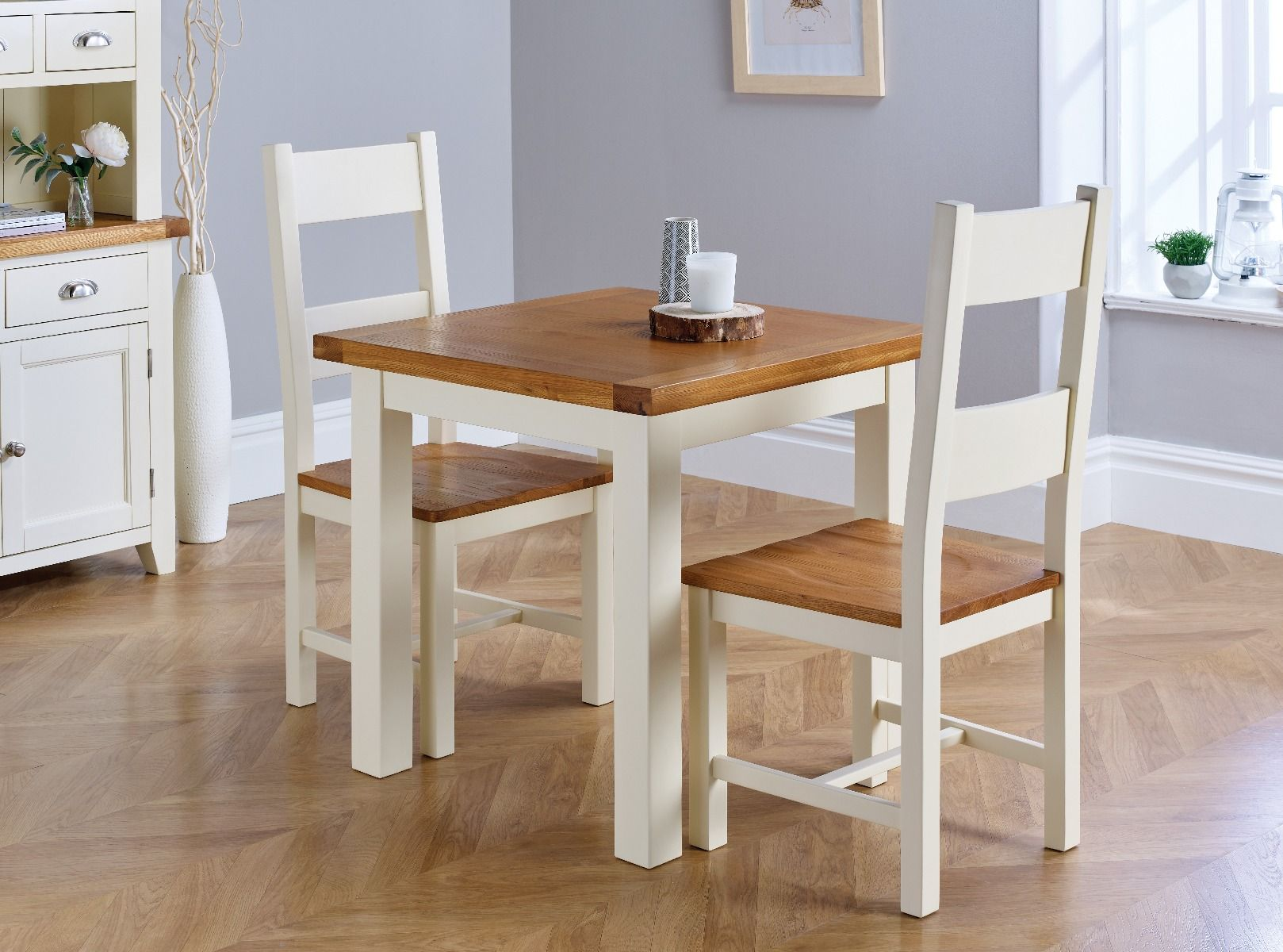 Small Dining Table Country Oak Small 80cm Cream Painted Square Oak Dining Table