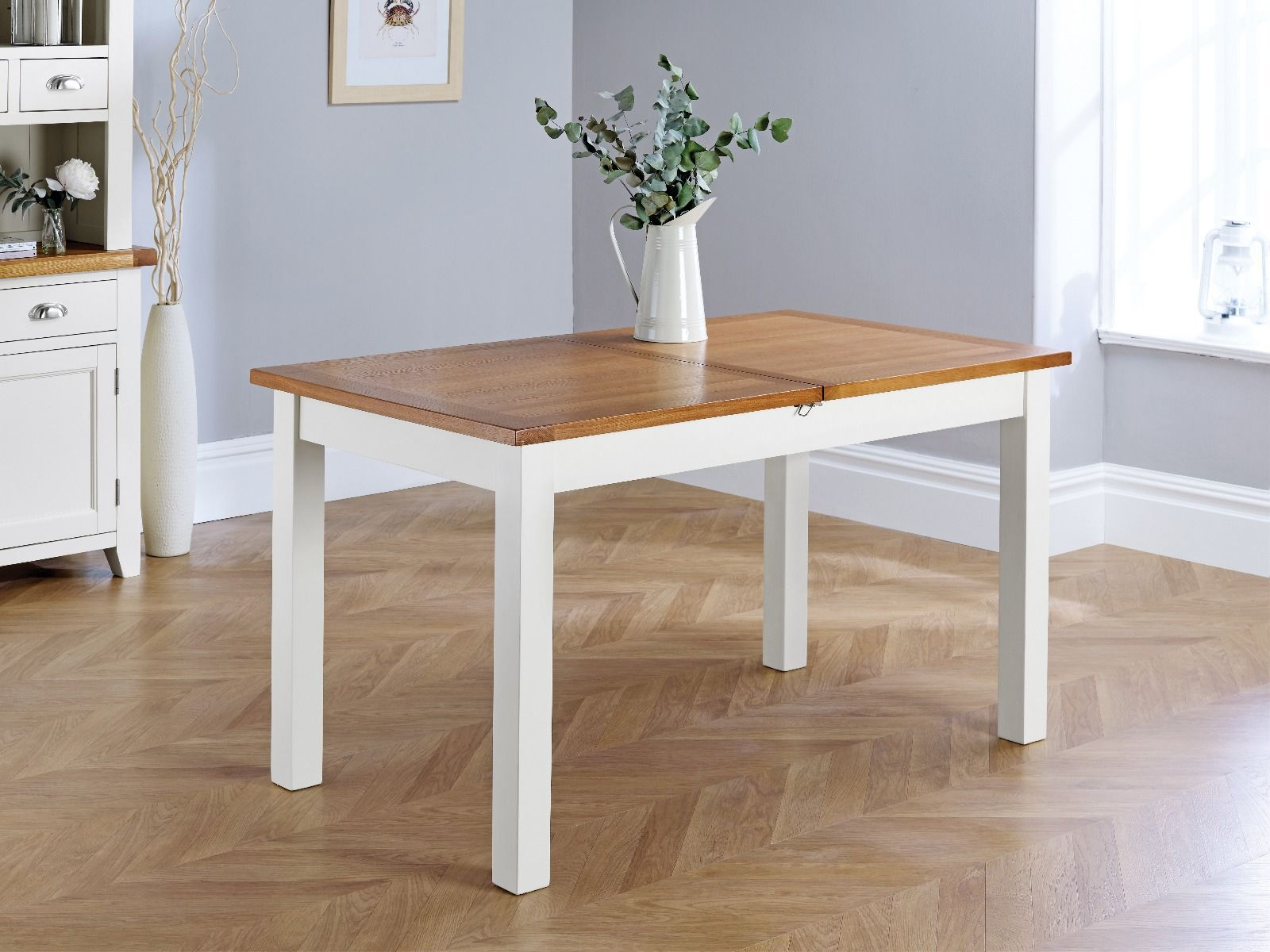 Extending Oak Table Country Oak Grey Painted 180cm Extendable Dining Table