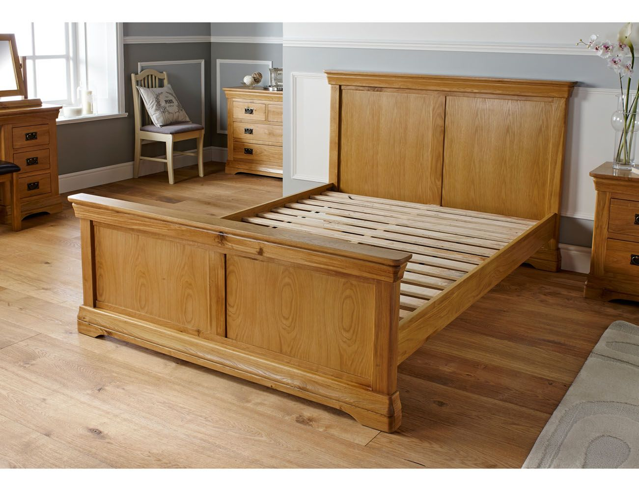 4ft Double Bed Size Farmhouse Country Oak Double Bed 4ft 6 Inches