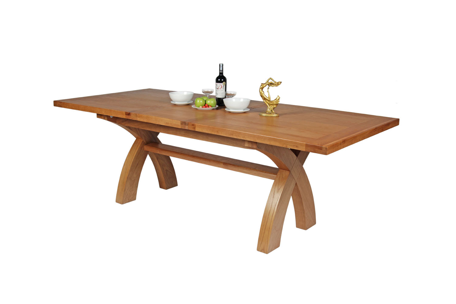 Extending Oak Table 180cm To 230cm Country Oak Cross Leg Extending Table