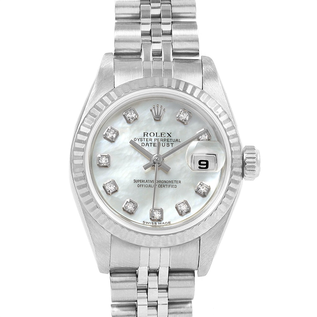 Steel Rolex Rolex Datejust Mop Diamond Dial Steel White Gold Ladies Watch 79174