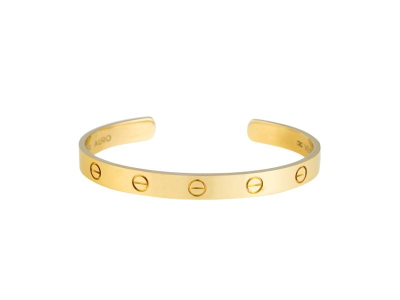 Cartier Love Open Cuff 18k Yellow Gold Size 17 Cartier