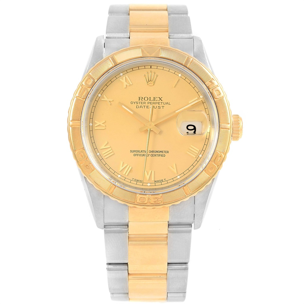 Stainless Rolex Rolex Datejust 16263 Stainless Steel And 18k Yellow Gold With Champagne Dial 36mm Mens Watch