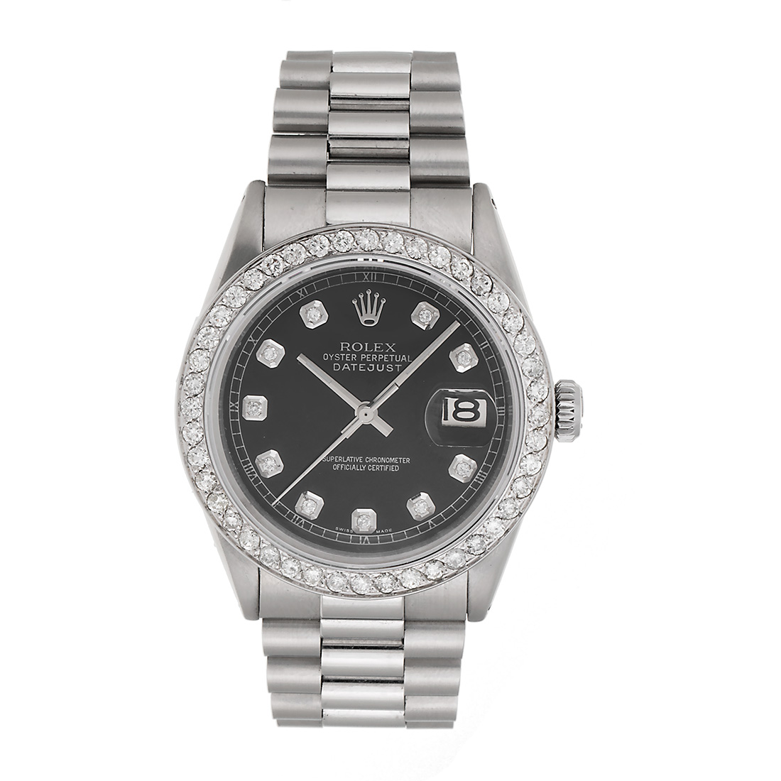 Steel Rolex Rolex Datejust Presidential Stainless Steel Custom Black Dial 2 5ct Diamond Bezel Mens Watch