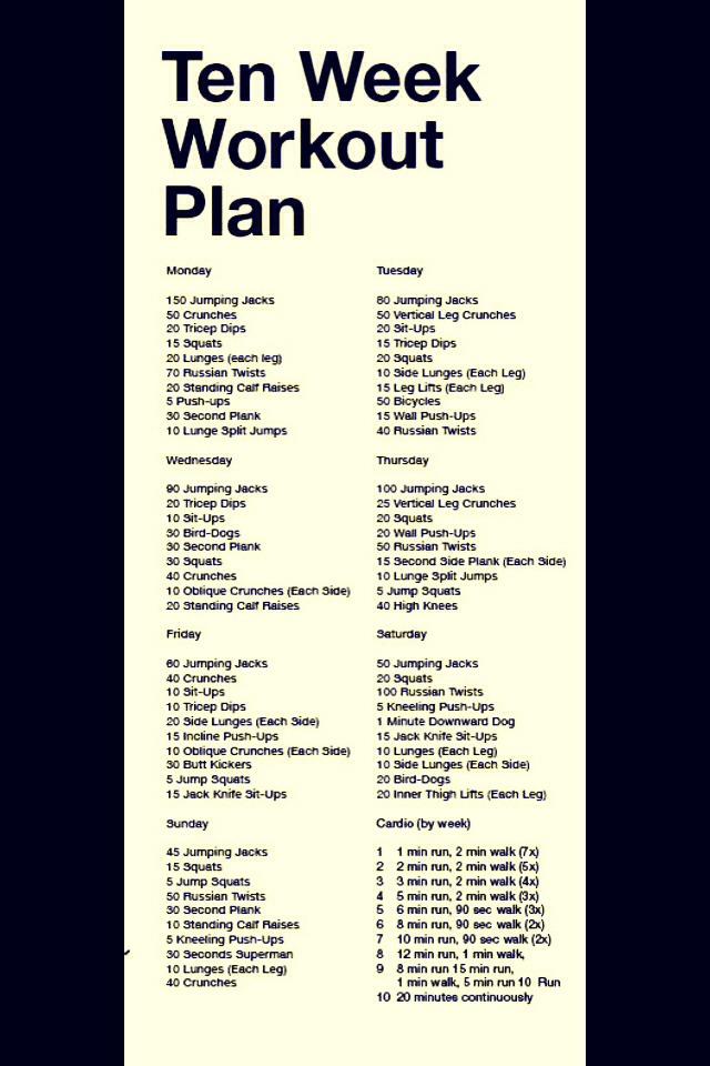 Ten Week Workout Plan - Joey Garcia - weekly workout plan