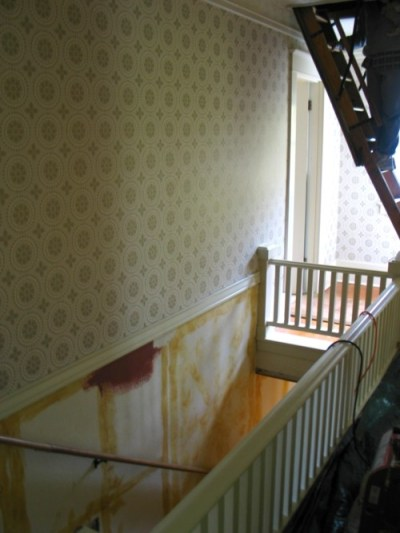 Stripping The Old Wallpaper in the Upstairs Hallway | The Craftsman Bungalow
