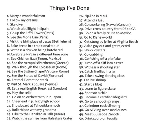 bucket list things ive done things i want to do Things Iu0027ve - printable checklist