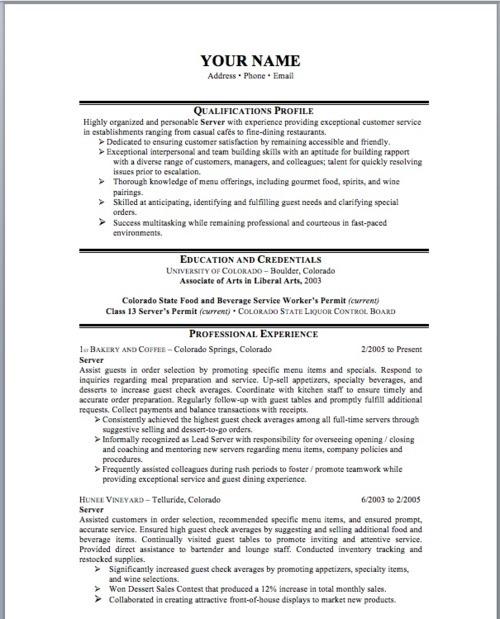 sample resume for waiter sample waitress resume and tips best sample resume restaurant server resume example
