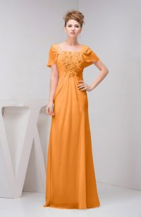 Orange with Sleeves Bridesmaid Dress Chiffon Fall Casual ...