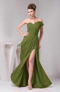 Olive Green Chiffon Bridesmaid Dress Unique Destination ...