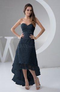 Navy Blue Tea Length Bridesmaid Dress Inexpensive ...