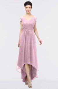 Mist Pink Mature A-line Short Sleeve Floor Length Beading ...