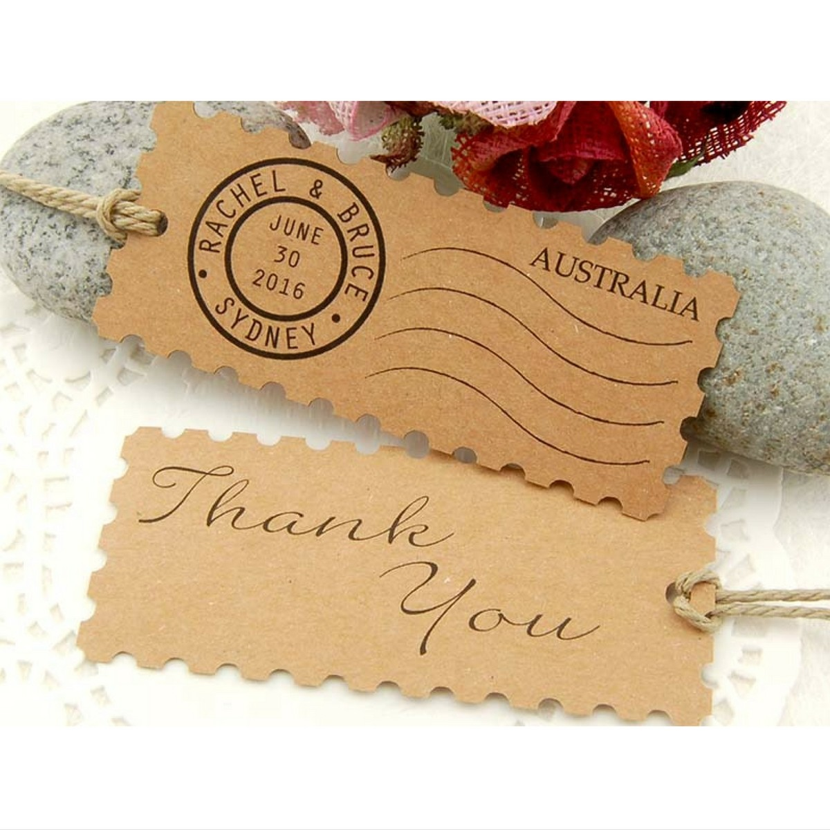 ... Kraft Postage Stamp Wedding Favor Gift Tags Malaysia Gifts Cards