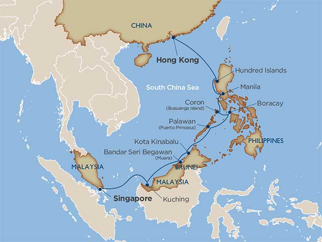 Cruise Itinerary and Ports the best of the philippines and borneo
