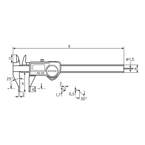 MAHR 16 EWR-SM digital vernier callipers 150 mm, round depth gauge