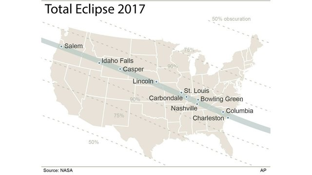 US in rare bull\u0027s-eye for total solar eclipse on Aug 21 8News