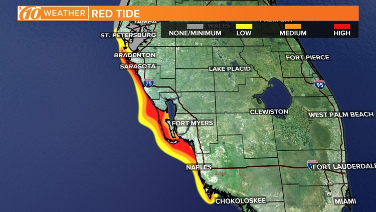 FWC releases new red tide map Medium concentration reported in