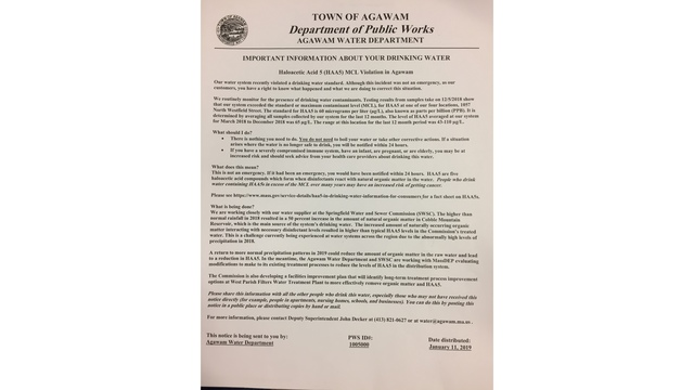 Agawam working to fix water system after violation of drinking water