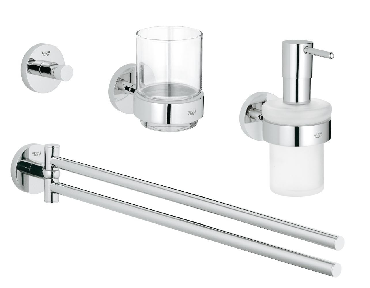 Bad Set Chrom Grohe Essentials Cube Bad Set 4 In 1 Chrom Xtwostore