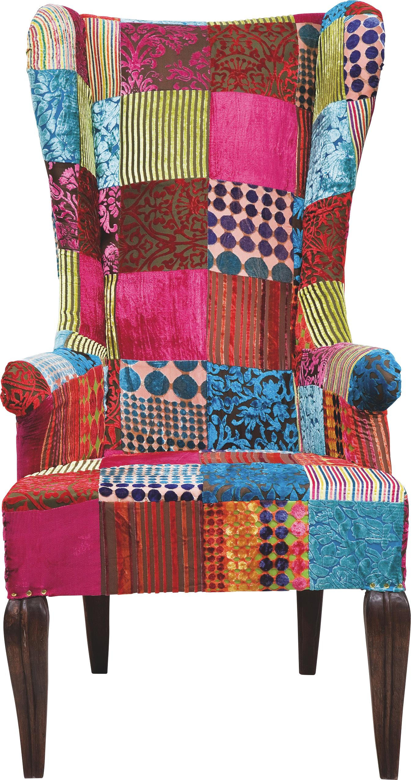 Ohrensessel Patchwork Ohrensessel Multicolor