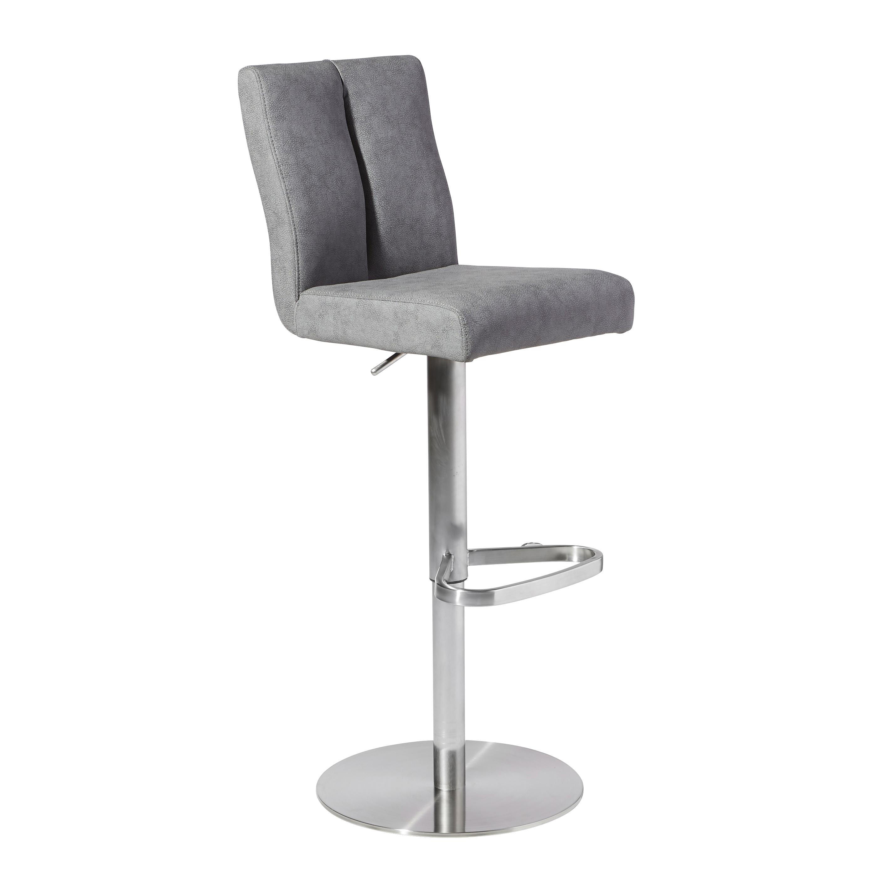 Barhocker Metall Novel Barhocker Lederlook Silber Grau