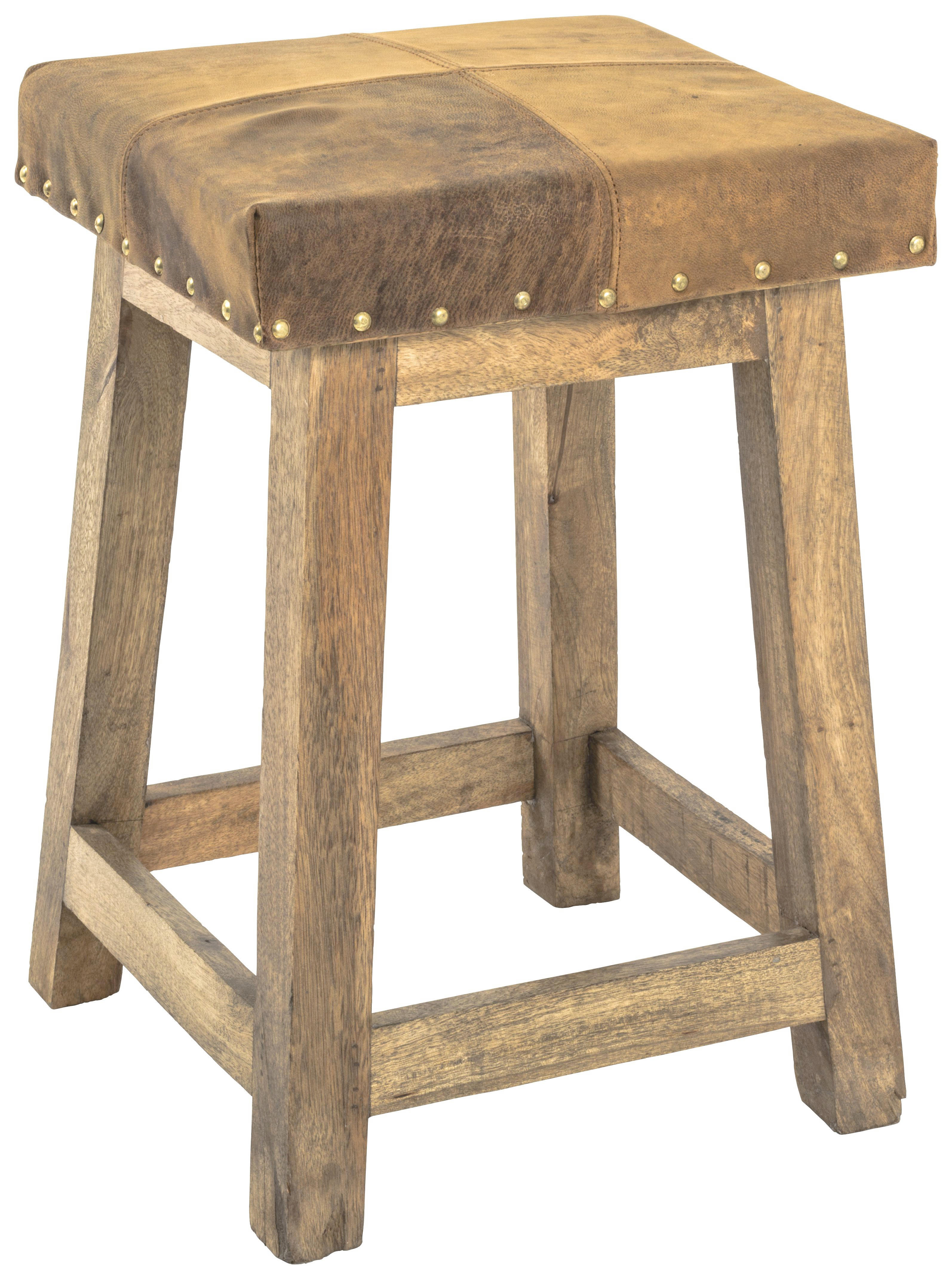Hocker Leder Hocker In Holz Leder Braun Hellbraun Naturfarben