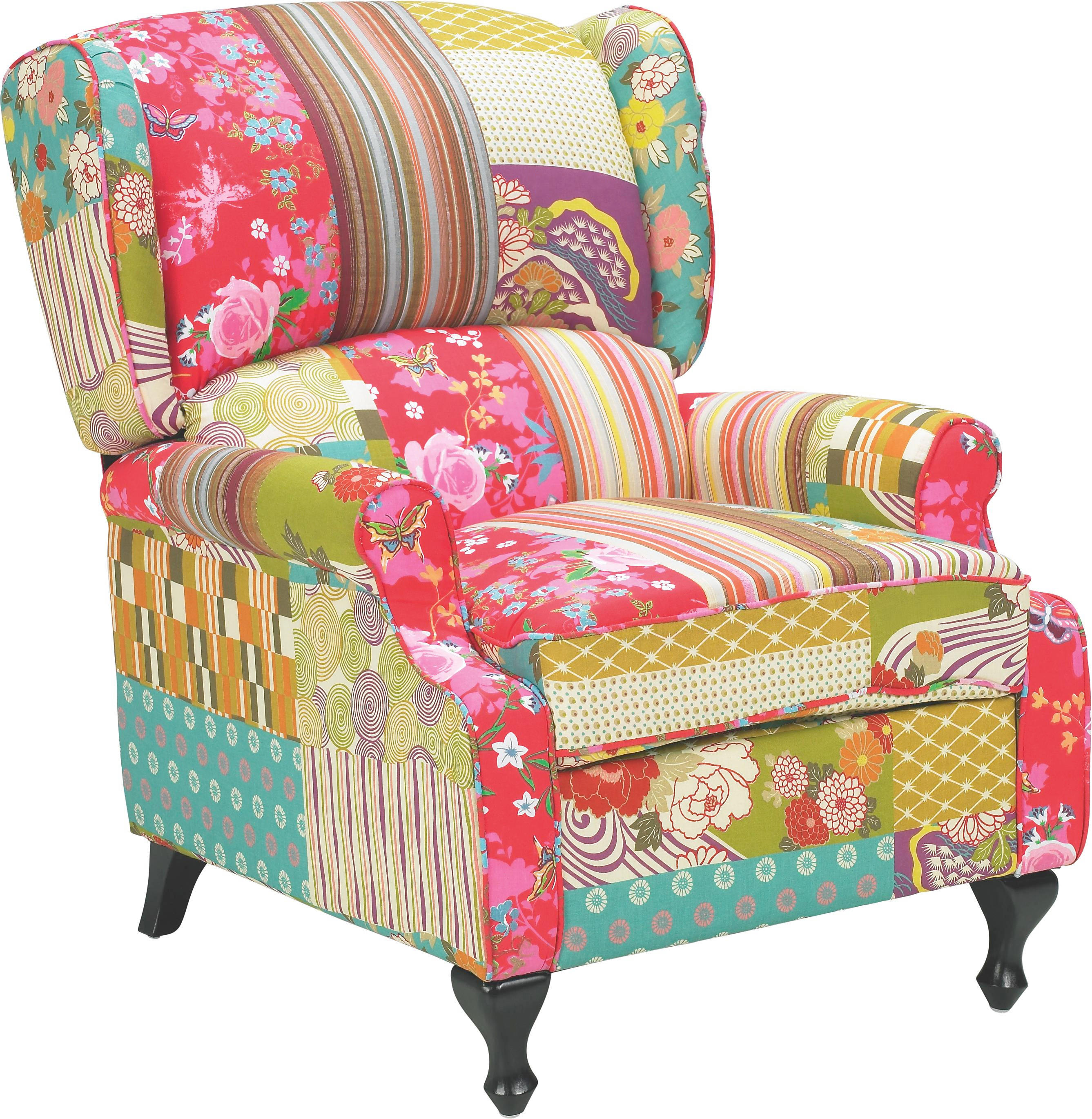 Xxl Sessel Patchwork Ohrensessel Multicolor