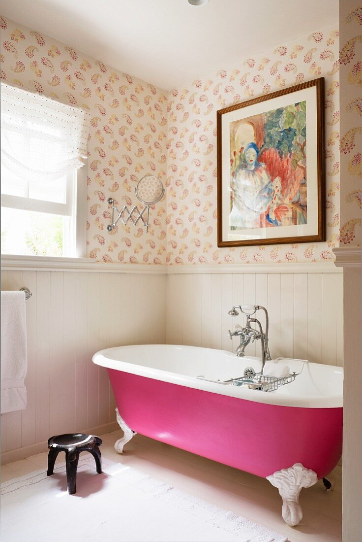 Pink Free Standing Bath In Bathroom With Buy Image 11128836 Living4media