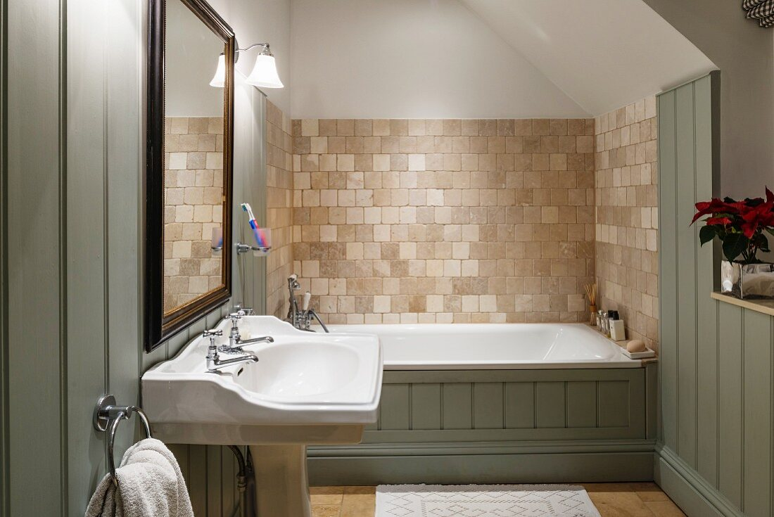 Country House Bathroom With Wall Tiles Buy Image 12339232 Living4media