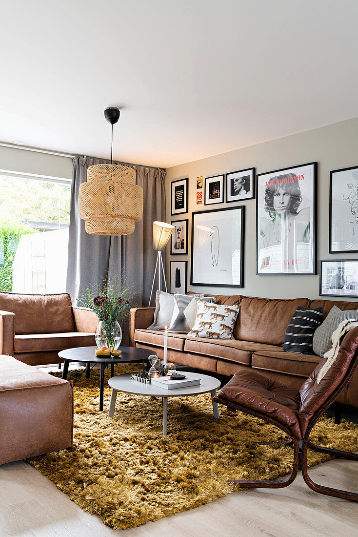 Brown Leather Sofa Set In Retro Style Buy Image 12668518 Living4media