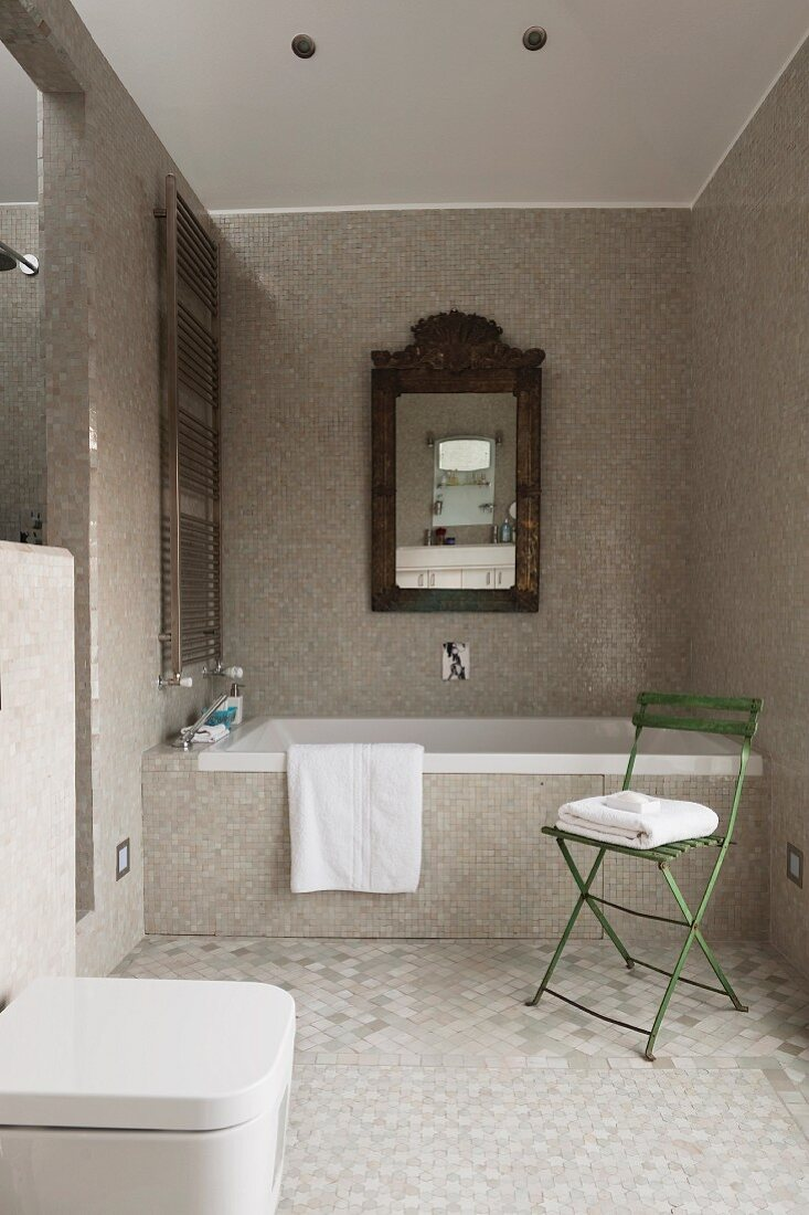 Framed Mirror Over A Bathtub In A Buy Image 11119979 Living4media