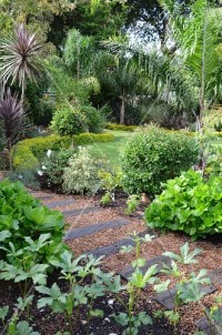 Garden path made from gravel & old railway sleepers in ...