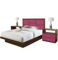 Uptown King Size Bedroom Set w Storage Platform