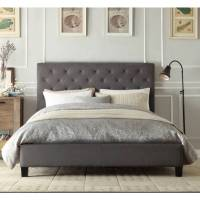 Chester Queen Bed Frame in Grey Fabric Linen | Buy Best ...
