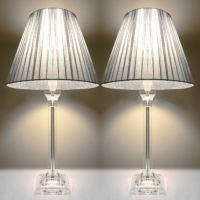 2x Bedside Table Lamps - Silver Shades | Buy Home & Garden