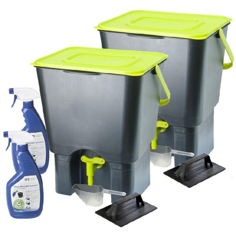 Maze Indoor Kitchen Composter x2 + 1L Bokashi Spray