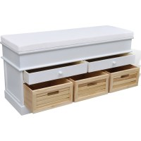 Entryway Storage Bench Shoe Cabinet in White