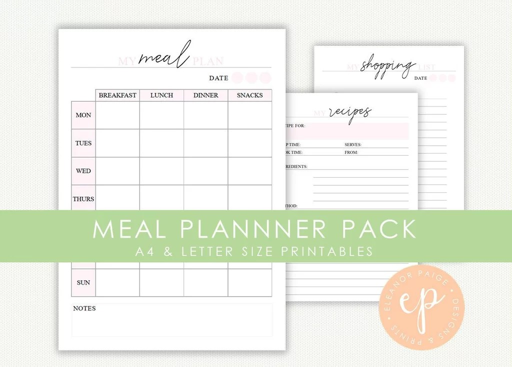 Meal Planner Printable Pack ($6) Printable Meal-Planning Sheets