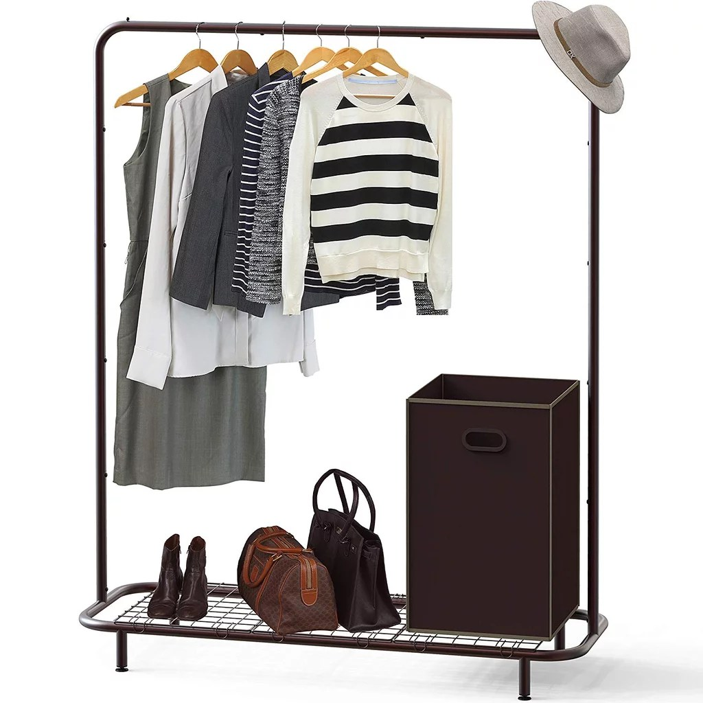 Industrial Clothing Rack Simple Houseware Industrial Pipe Clothing Garment Rack With Bottom