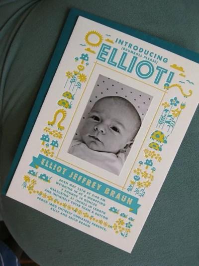 Letterpress Printed Photo Birth Announcement Elegant Letterpress