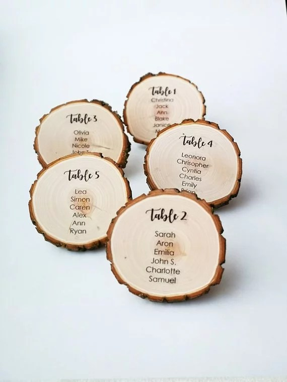 Printable Tree Stump Wedding Seating Chart Cards Unconventional
