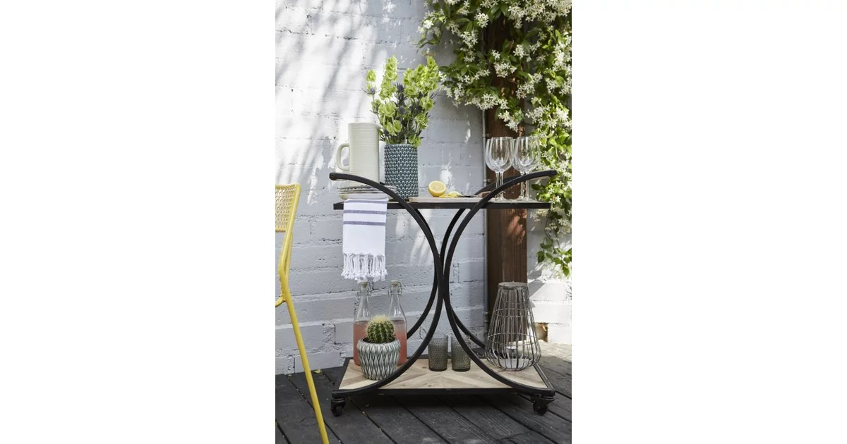 An Adorable Outdoor Bar Cart Like This One Makes It Easy