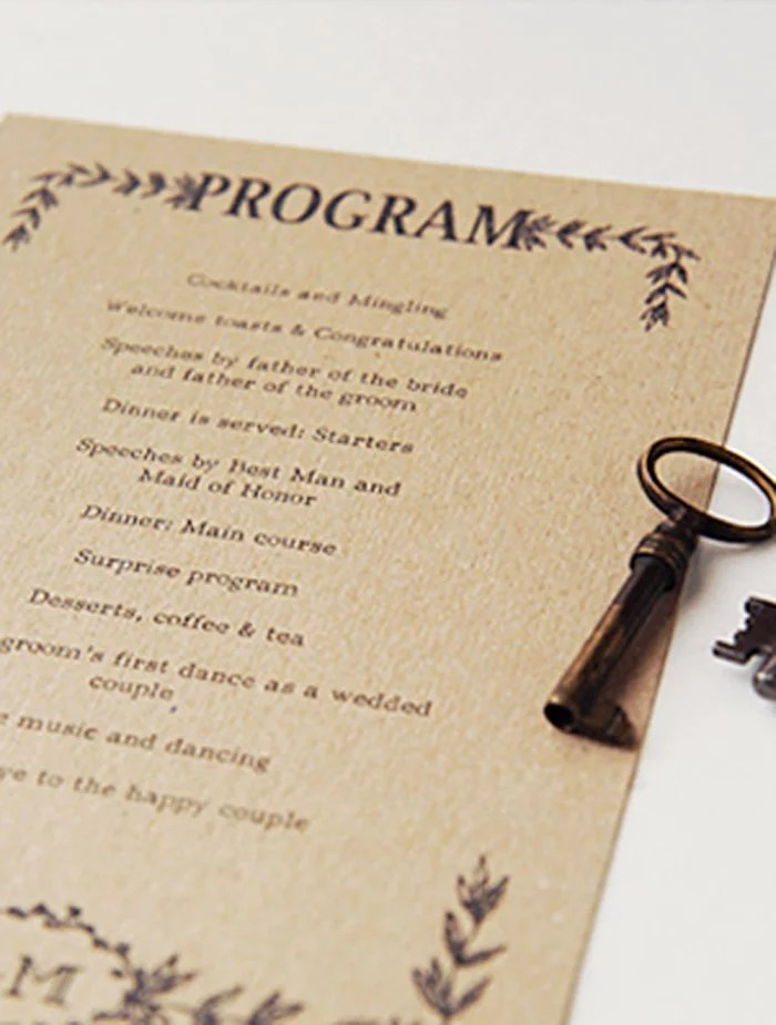 Hand-Illustrated Rustic Wedding Program Free Printable Wedding