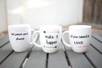 DIY Quote Stenciled Sharpie Mugs | POPSUGAR Smart Living